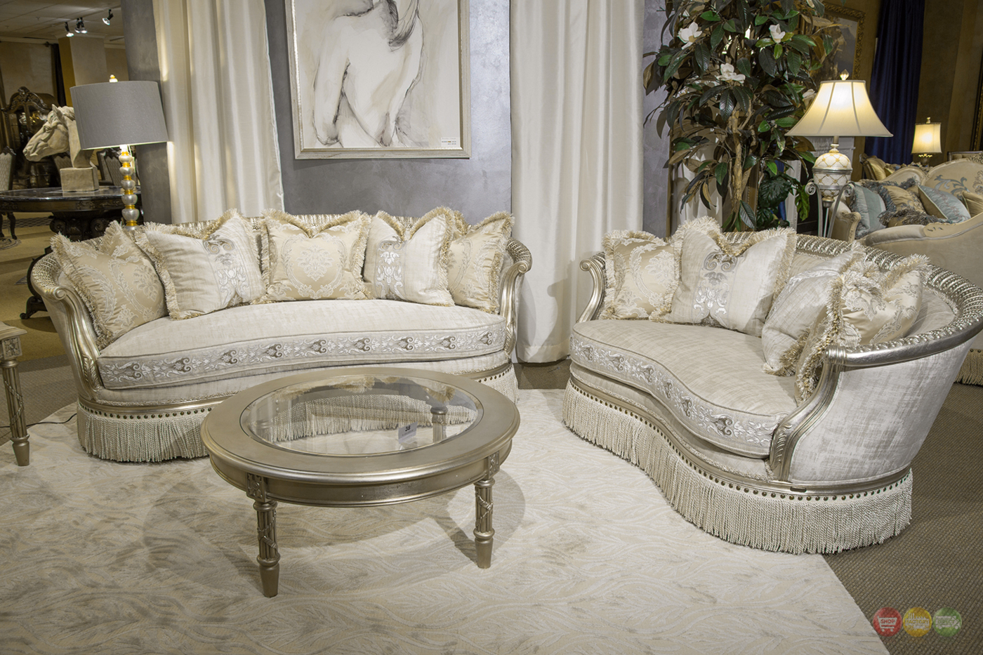 Giselle Royal Luxury Embroidered Sofa Amp Loveseat In Platinum