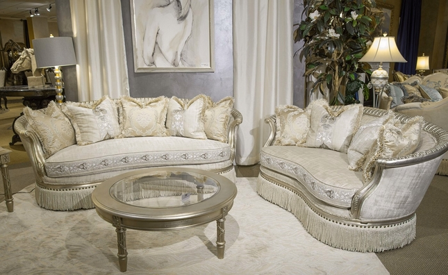 Giselle Royal Luxury Embroidered Sofa & Loveseat in Platinum