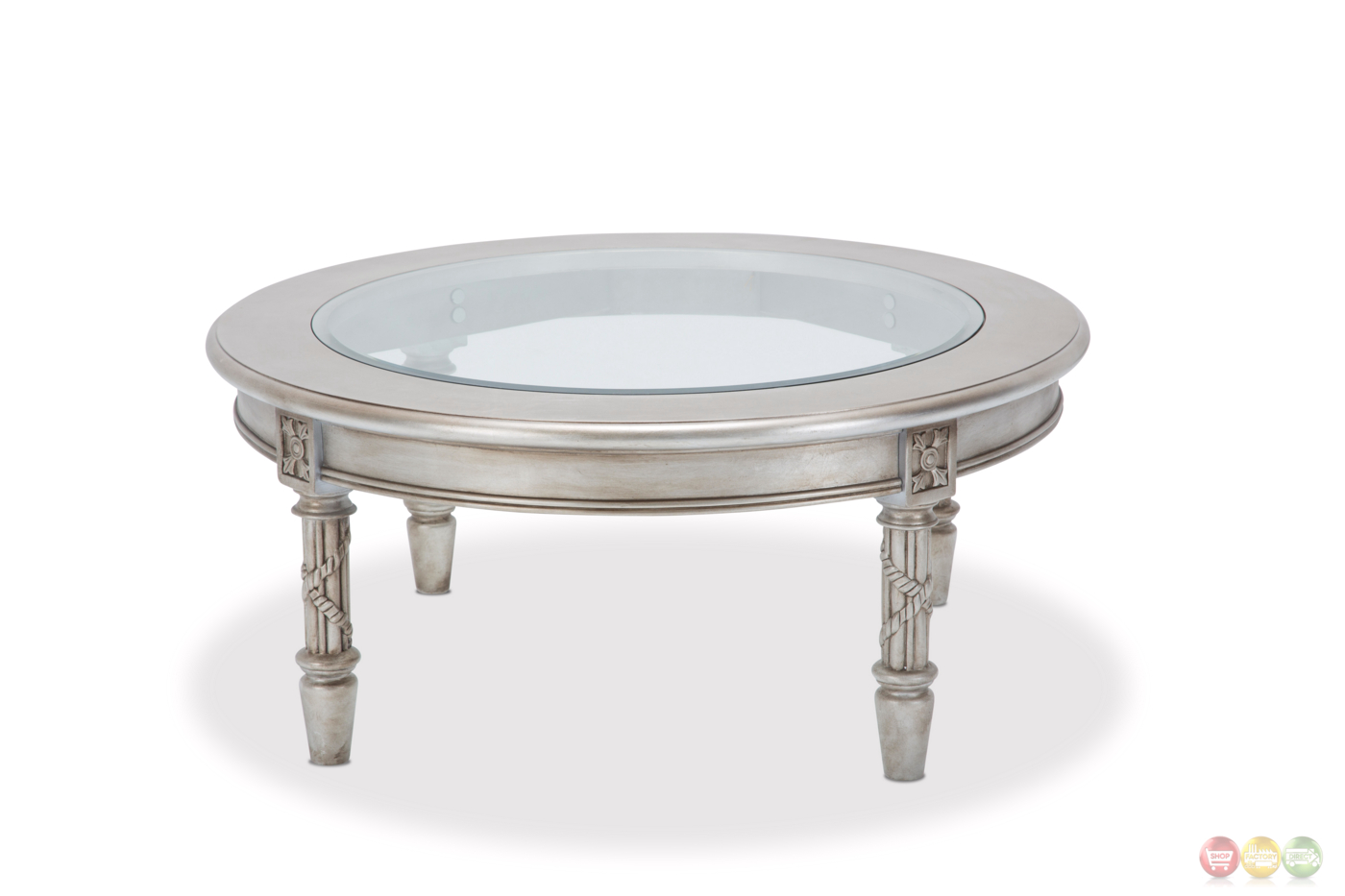 Luxury Traditional Ornate Glass Top Coffee Table In Platinum Finish