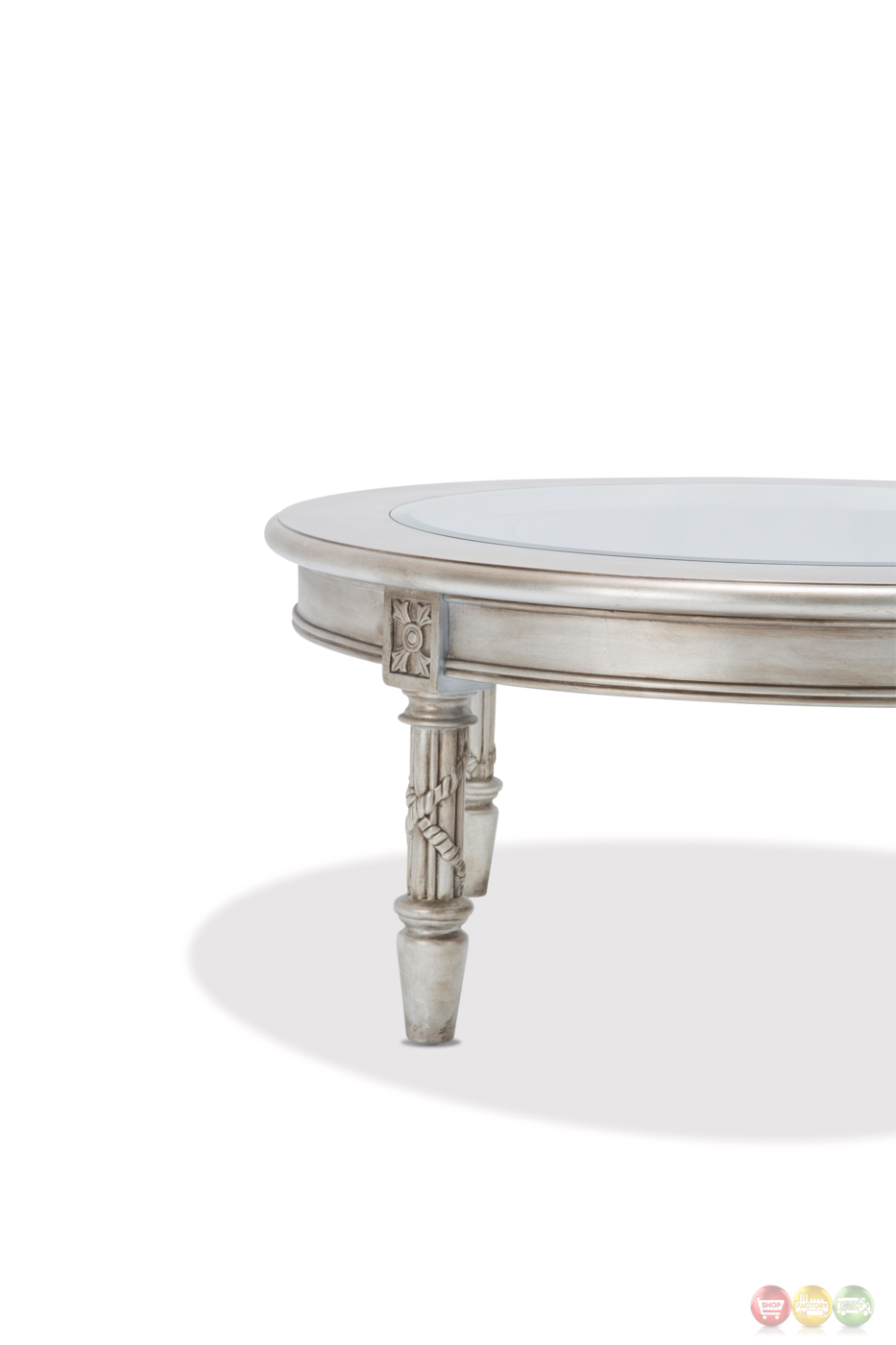 Giselle Luxury Traditional Ornate Glass Top Coffee Table