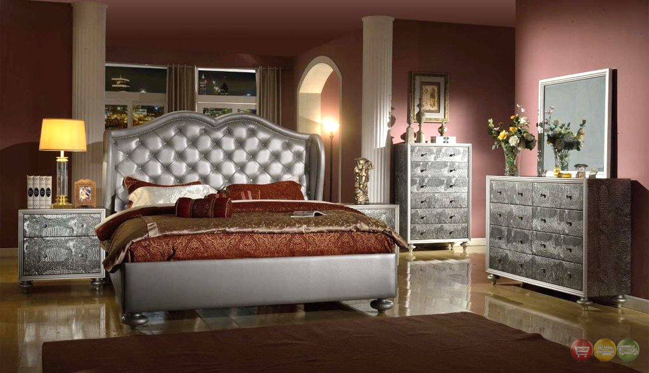 Glamorous Silver Button Tufted Wing Back Bed Faux Croc Bedroom Furniture Set