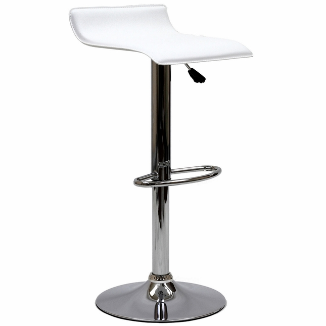 Gloria Modern Adjustable Vinyl Bar Stool w/ Chrome Base & Foot Rest, White