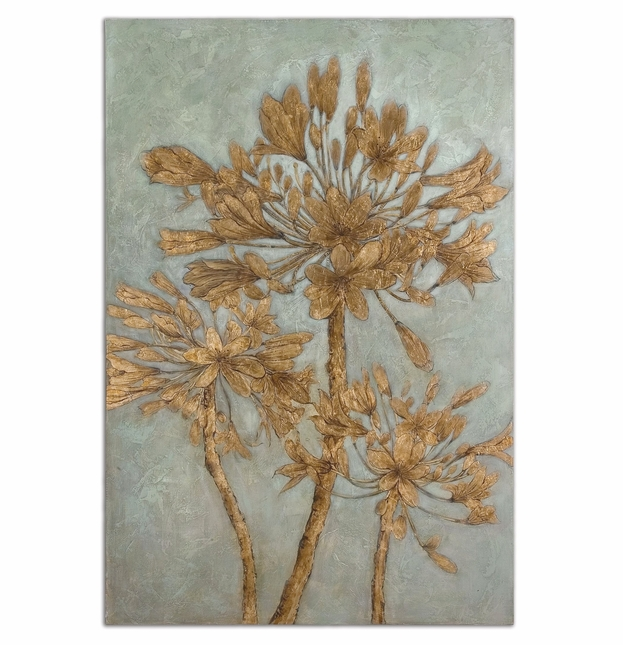 Golden Leaves Hand Painted Wall Art 34275
