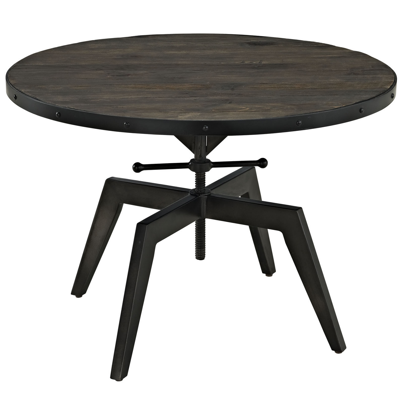 Round Metal Coffee Table Bases: Grasp Industrial Round Pine Wood Coffee Table With Metal
