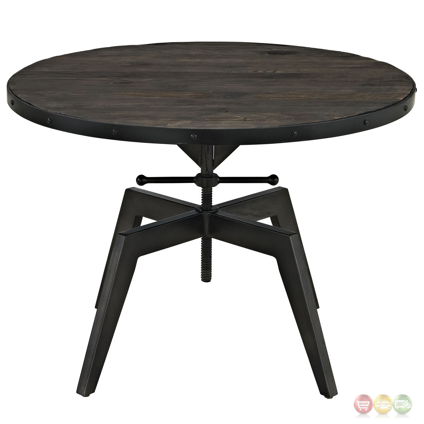 Round Wood And Embossed Metal Kiran Coffee Table: Grasp Industrial Round Pine Wood Coffee Table With Metal