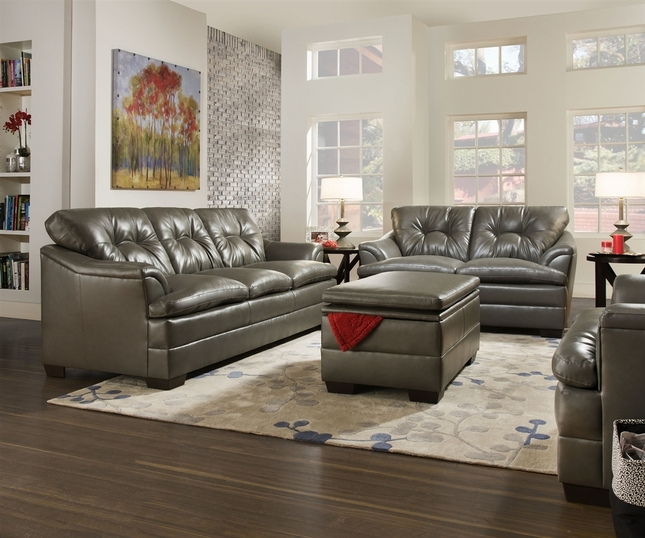 gray contemporary tufted bonded leather living room sofa set simmons
