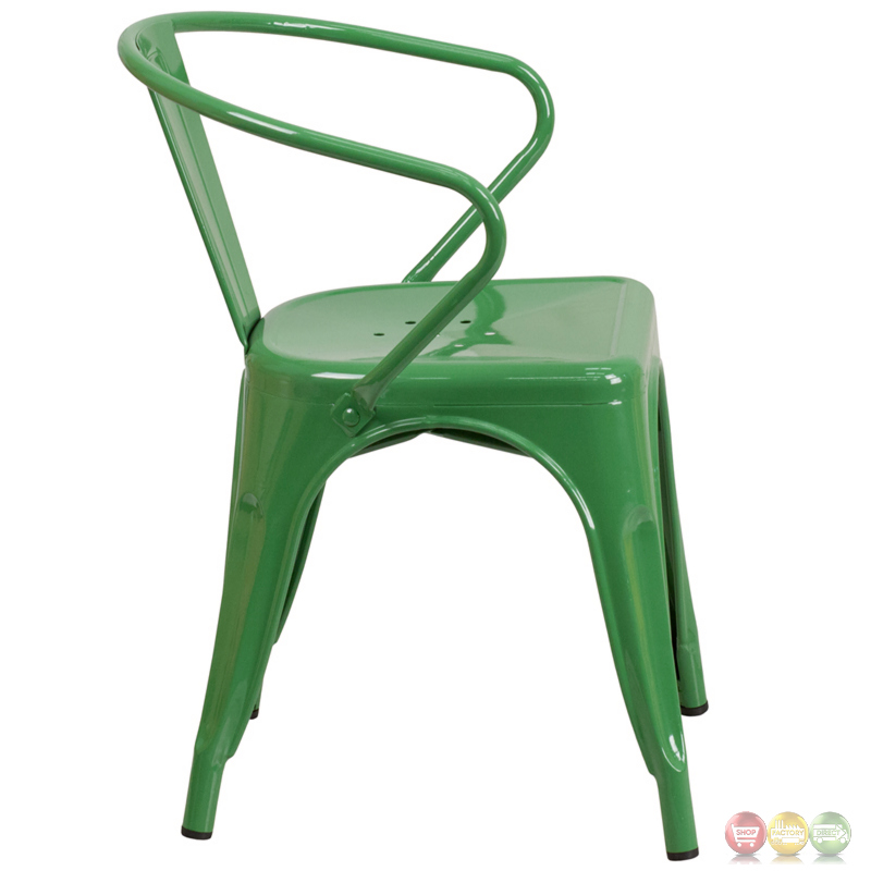 green metal indoor outdoor chair with arms