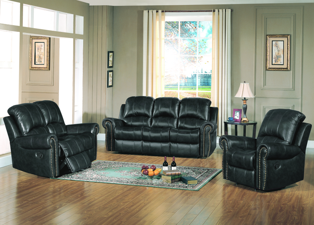 gretna traditional black leather reclining sofa and loveseat set