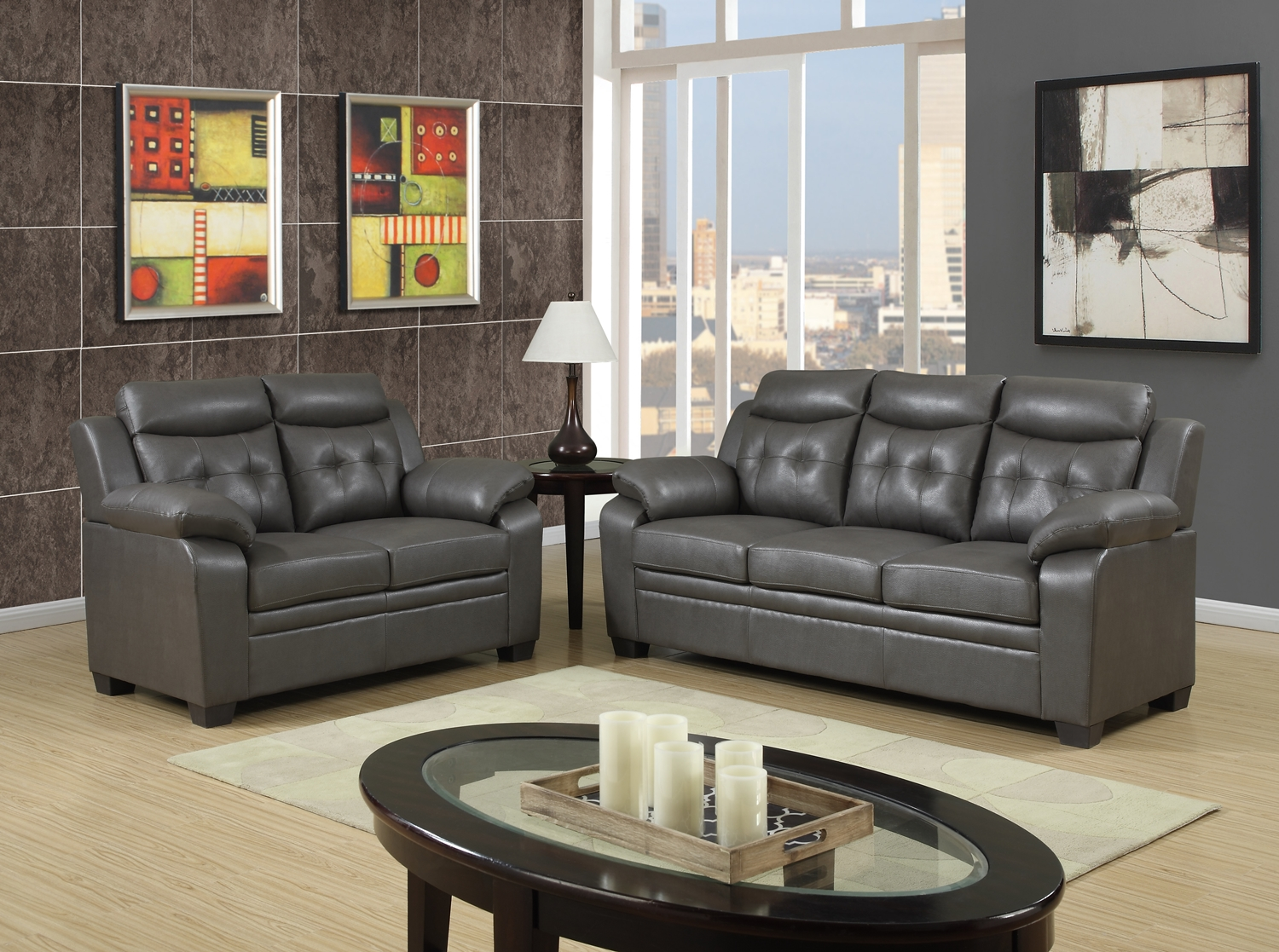 Grey Apartment Size Casual Contemporary Bonded Leather