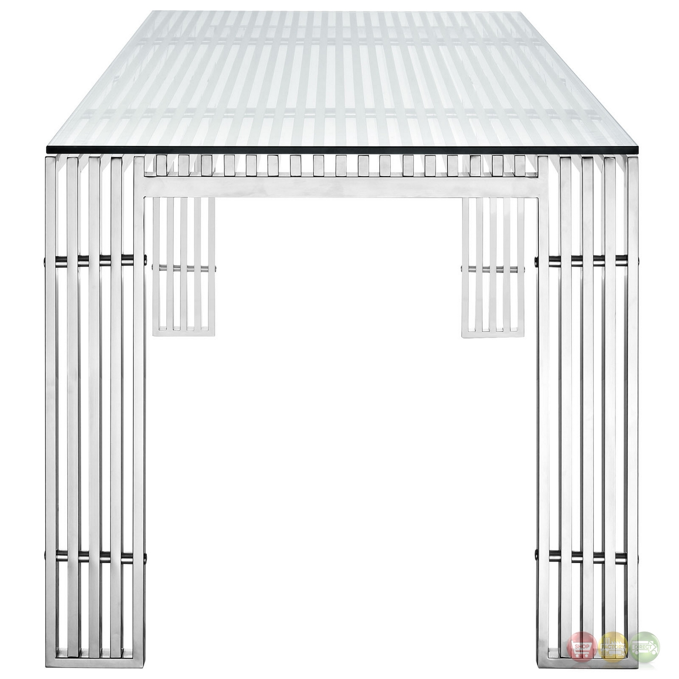 Gridiron Modernistic Stainless Steel Dining Table With  : gridiron modernistic stainless steel dining table with glass top silver 6 from shopfactorydirect.com size 1400 x 1400 jpeg 363kB