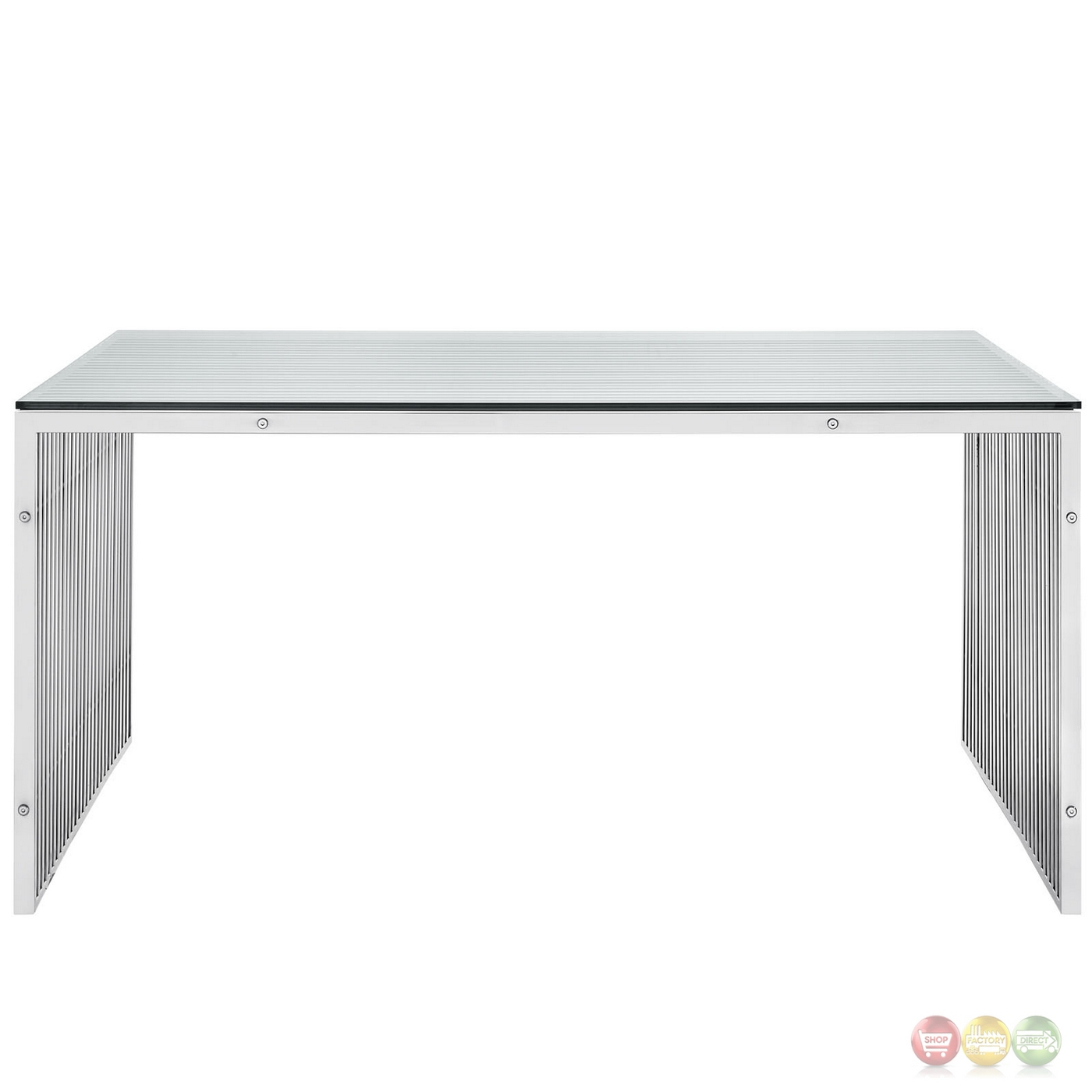 Stainless Steel Dining Table With Glass Top Contemporary  : gridiron modernistic stainless steel solid frame dining table with glass top silver 4 from www.amlibgroup.com size 1400 x 1400 jpeg 164kB