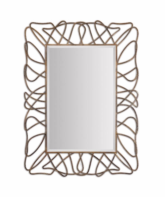 Halsey Contemporary Gold Squiggle Loop Frame Metal Mirror