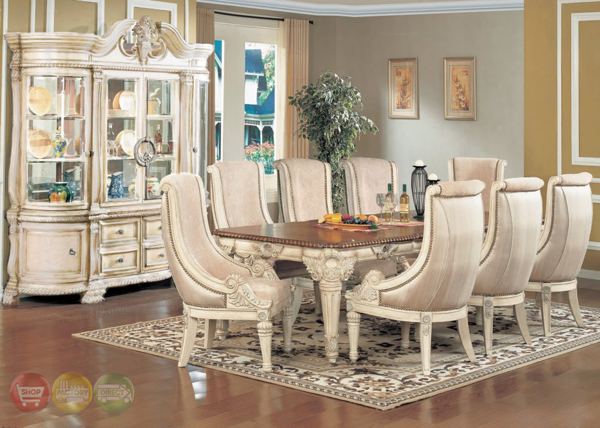 halyn antique white formal dining room set with extension leaf dining room set the weston formal antique white wash dining room set
