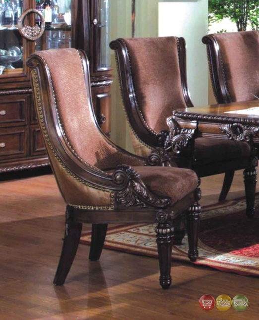 Curved Back Dining Room Bench: Set Of 2, Halyn Formal Curved Upholstered Side Chair In