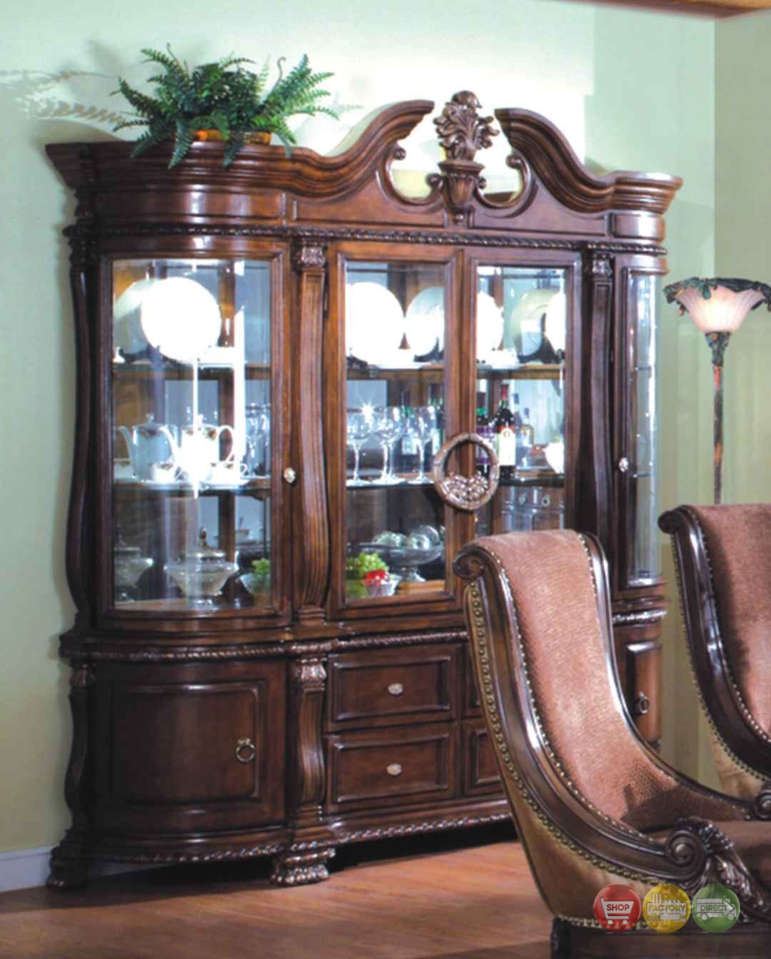 Halyn Formal Dining China Cabinet With Antique Brown Finish