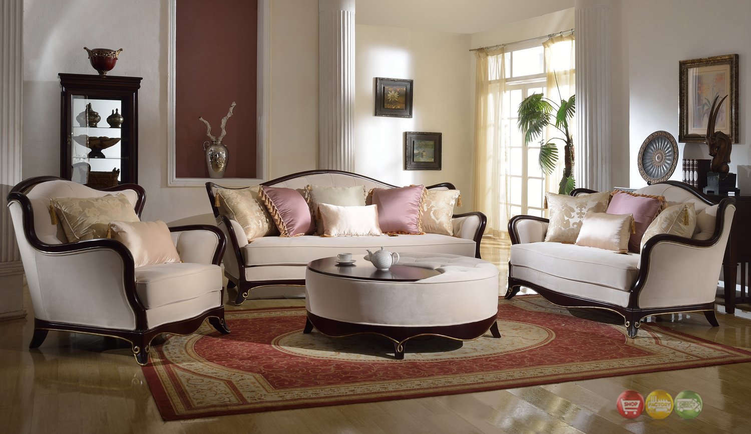 French Provencial Cabriole Style Chenille Upholstered Sofa Loveseat Set