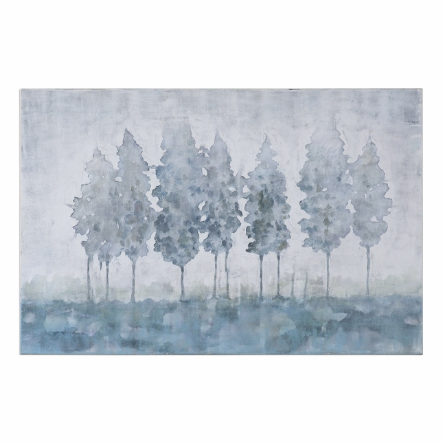 "Handpainted Forest Theme Guardians Landscape Art On Stretched Canvas, 60""x40"""