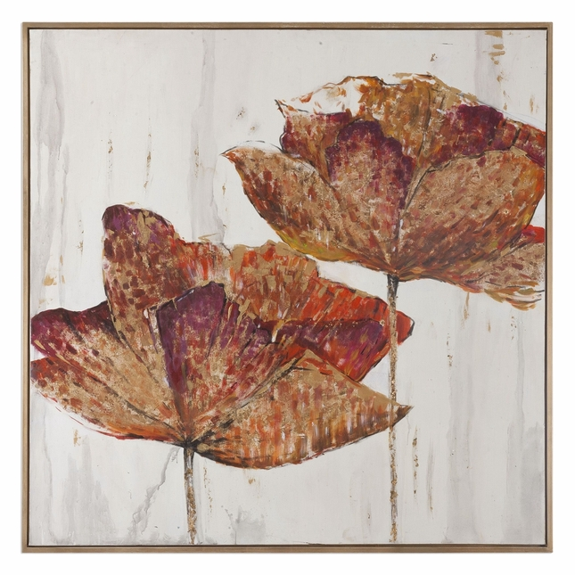"""Handpainted Golden Accents Floral Art On Vertical Hang Stretched Canvas, 62""""x62"""""""