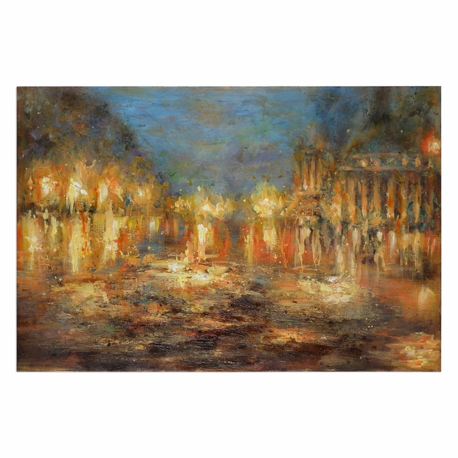 "Handpainted Lights Of The City Contemporary Abstract Canvas Wall Art, 60""x40"""