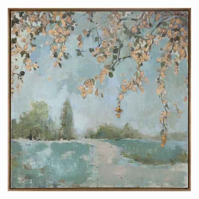 """Handpainted Peaceful Landscape Modern Canvas Art With Narrow Gray Frame, 37""""x37"""""""