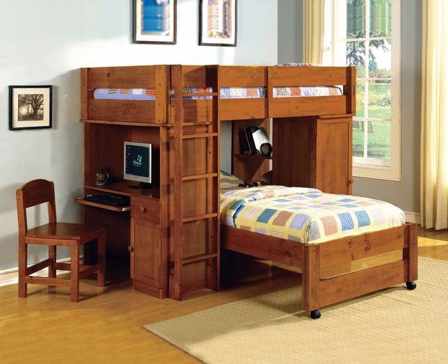 Harford II Oak Junior Loft Bed Set with Built-in Desk and Chair