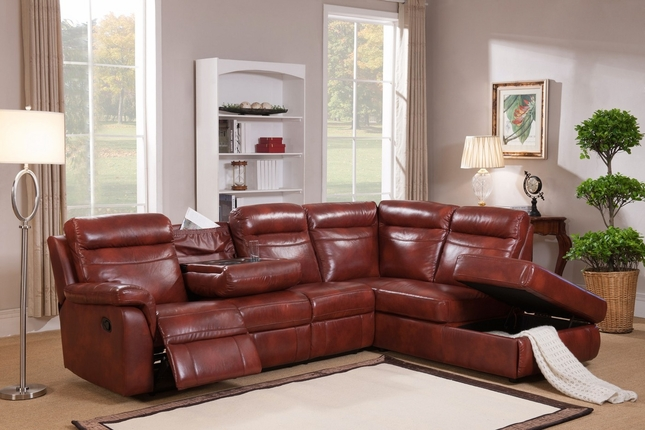Hariston Genuine Caramel Leather Reclining Sectional Sofa With Storage Chaise