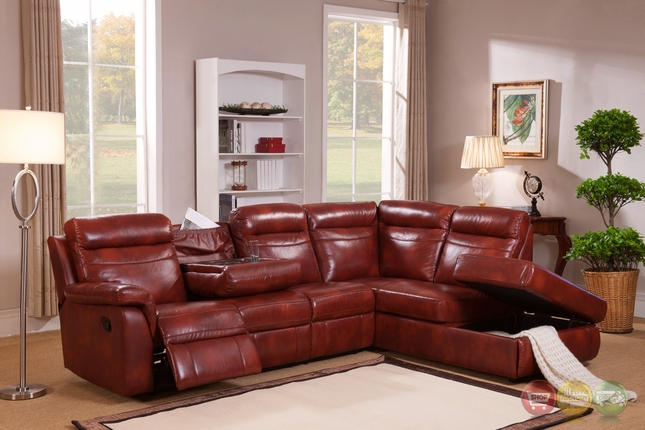 Hariston Genuine Caramel Leather Reclining Sectional Sofa With Storage ...
