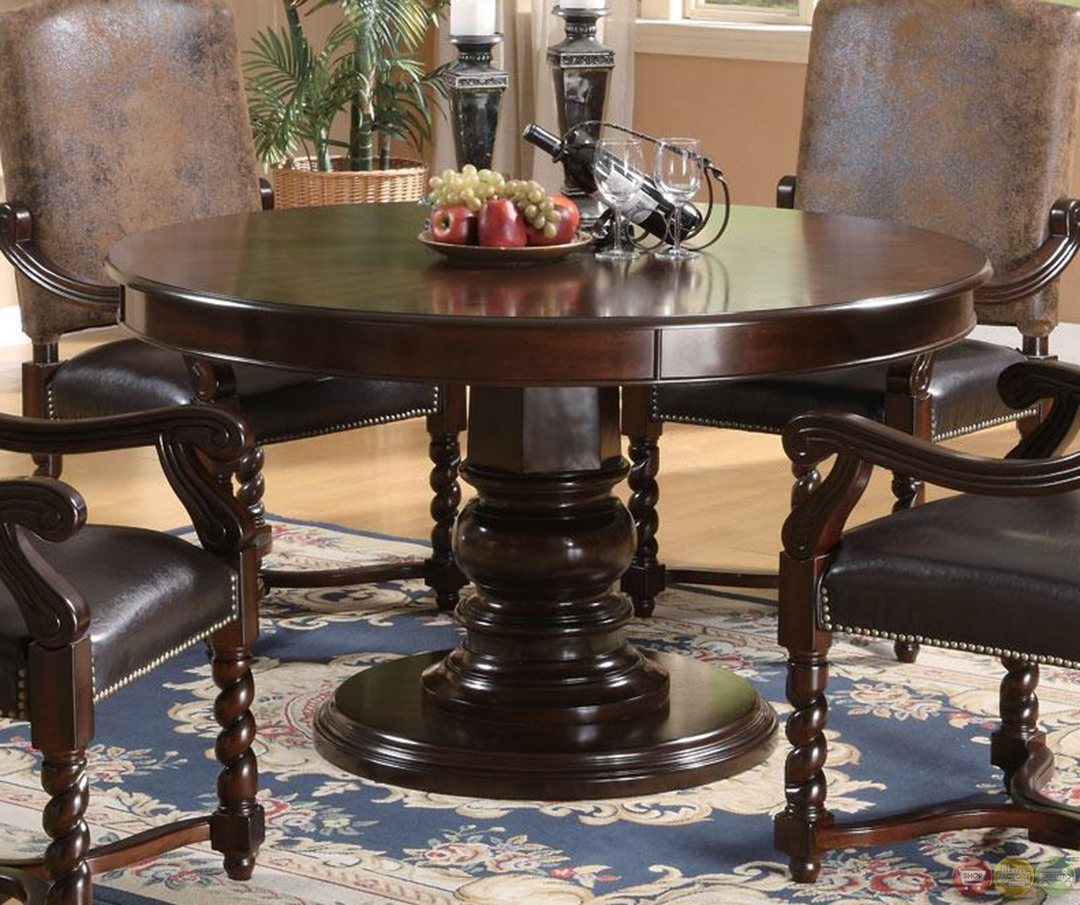 Brown Traditional 5 Piece Round Dining Set Cally: Harrelson 5 Piece Transitional Round Table Dining Set