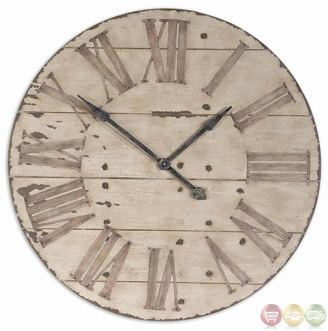 harrington antique ivory with chestnut undertones wall clock 06671