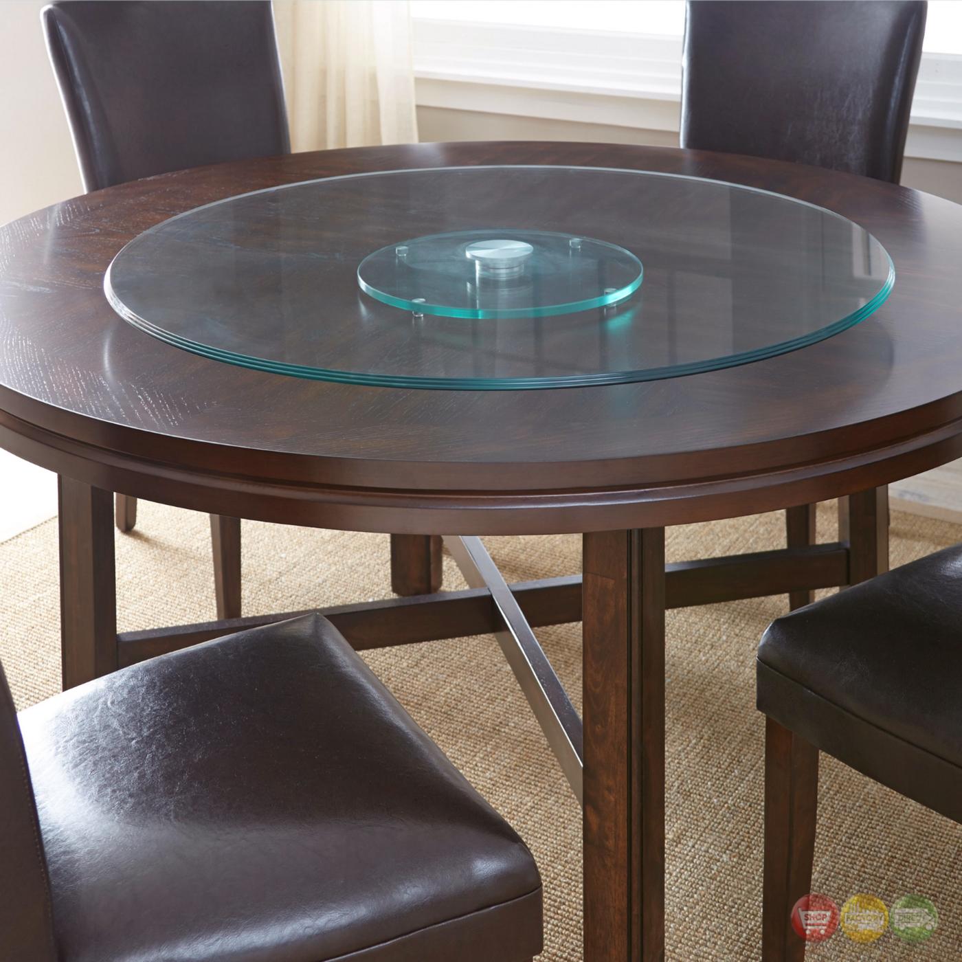 Hartford 40 Quot Round Clear Tempered Glass Lazy Susan