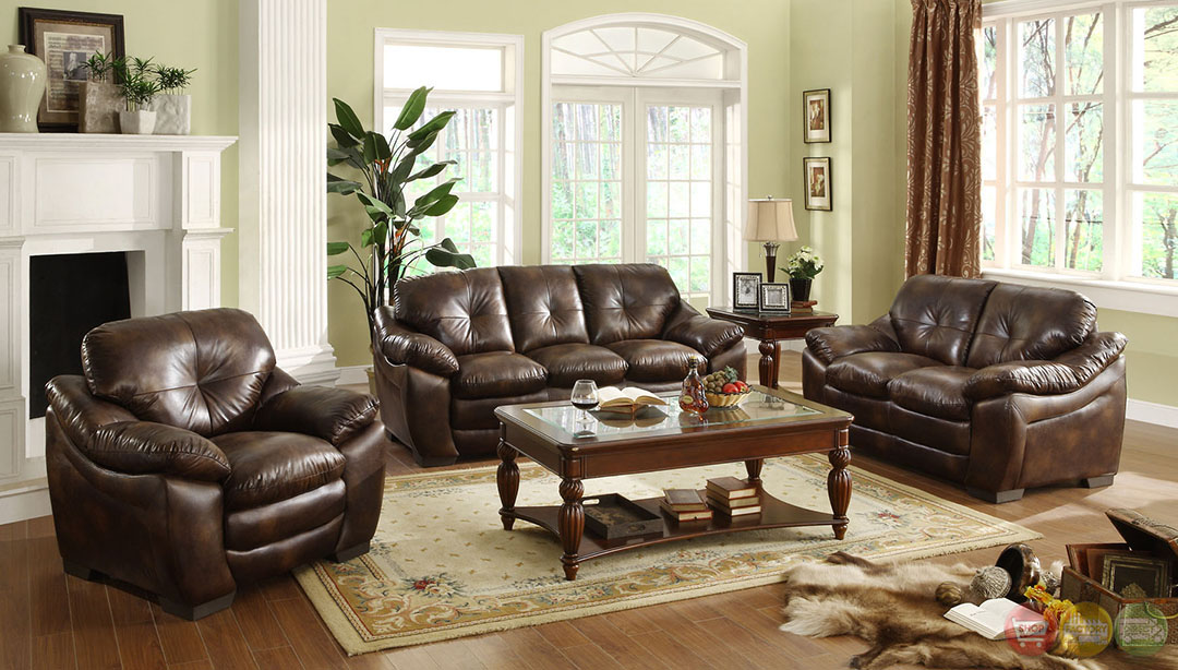 Hastings Traditional Rustic Brown Living Room Set with Plush Seating ...
