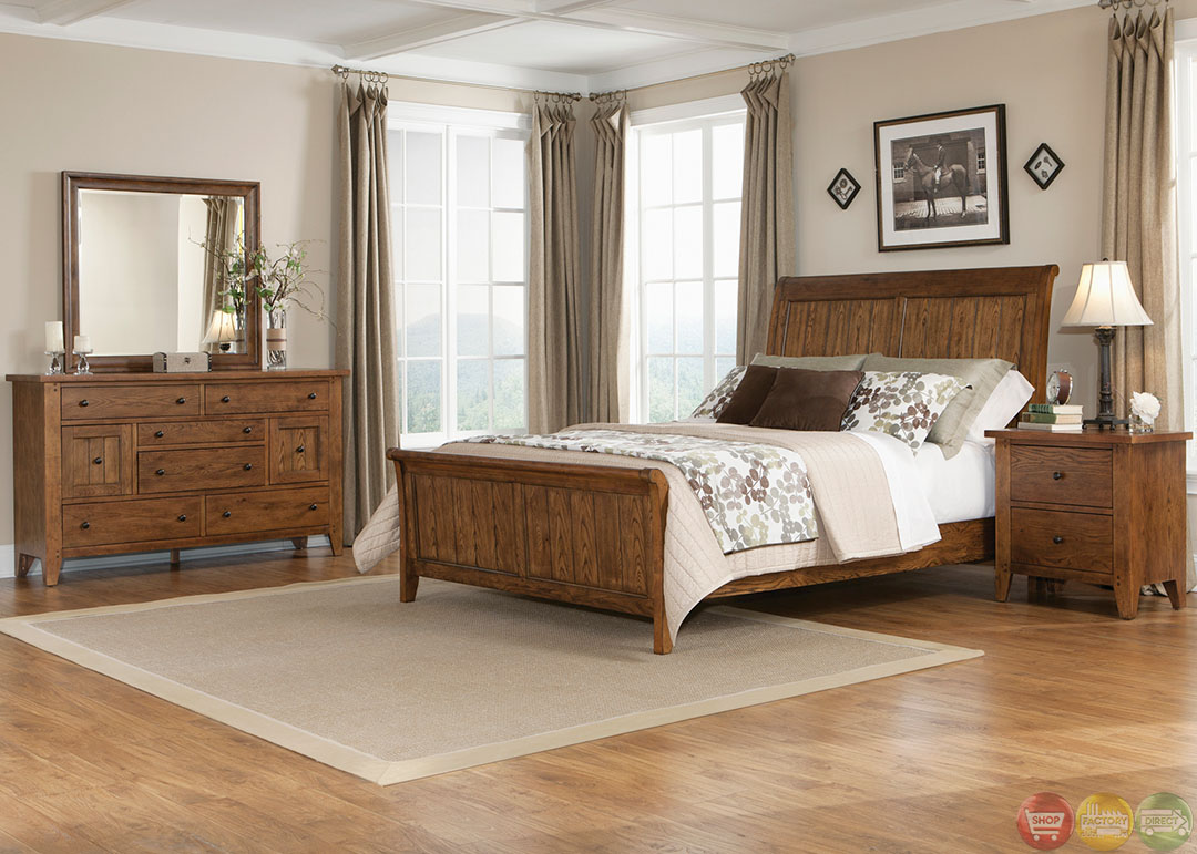 hearthstone traditional rustic oak sleigh bedroom set