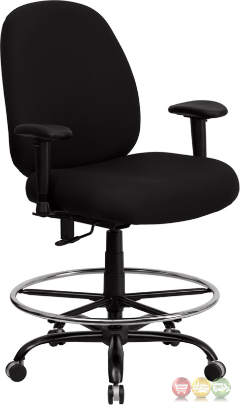 Hercules Big Tall Black Fabric Drafting Chair W Wide Seat Adjust