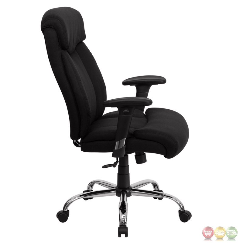 Hercules Big Tall Black Fabric Swivel Office Chair W Height Adjustable