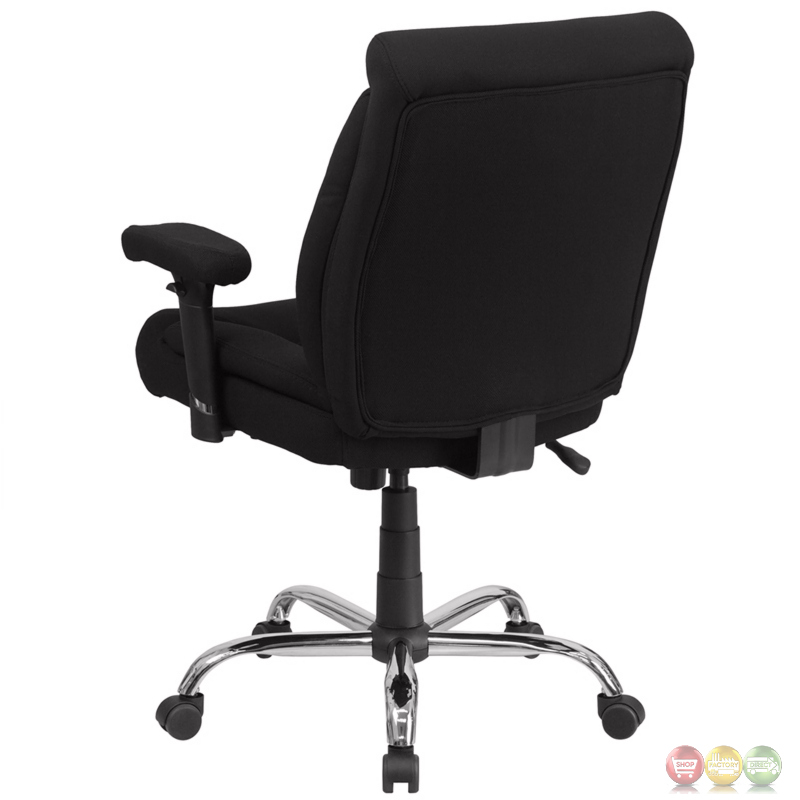 Hercules Big Tall Black Fabric Swivel Task Chair W Height Adjustable Arms