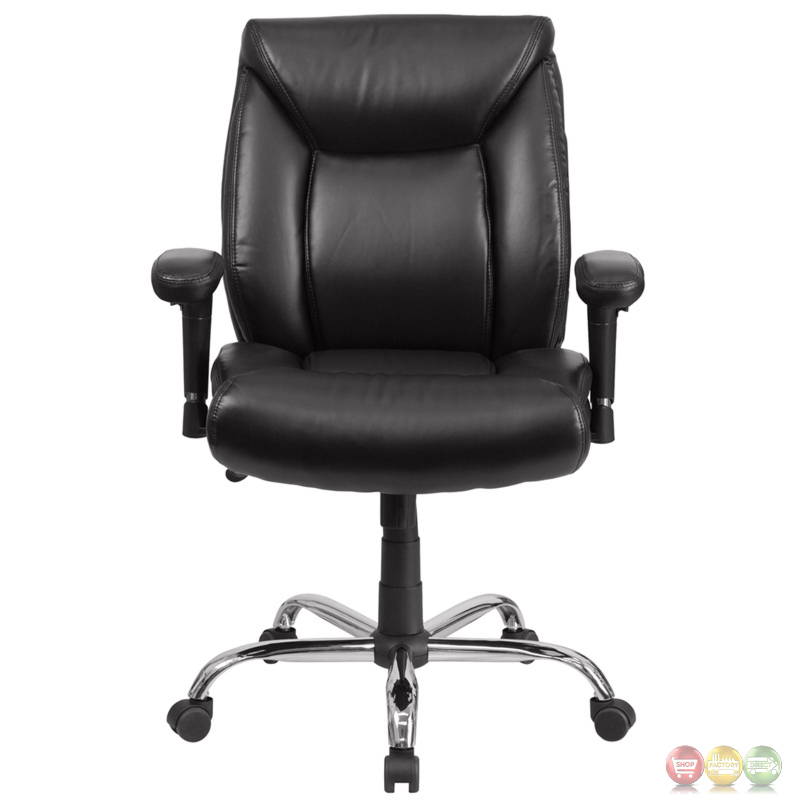 Hercules Big Tall Black Leather Swivel Task Chair W Height Adjustable