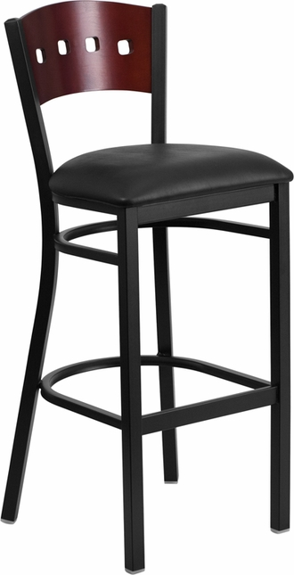 Hercules Black 4 Square Back Metal Barstool Mahogany Wood Back, Black Vinyl Seat