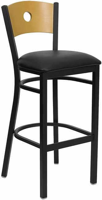 Hercules Black Circle Back Metal Barstool Natural Wood Back, Black Vinyl Seat