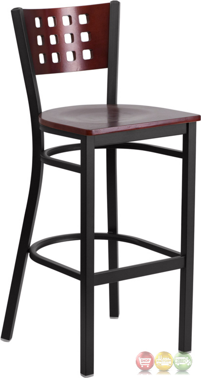 Hercules Black Cutout Back Metal Barstool Mahogany Wood