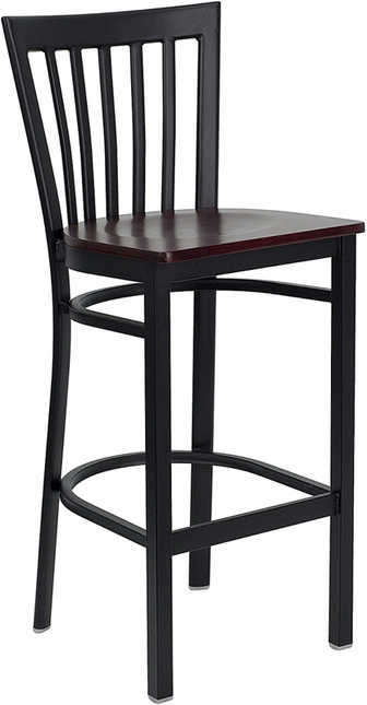 Hercules Black School House Back Metal Restaurant Barstool Mahogany Wood Seat
