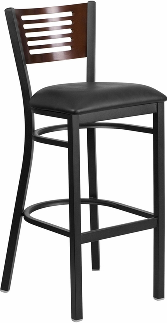 Hercules Black Slat Back Metal Barstool Walnut Wood Back, Black Vinyl Seat