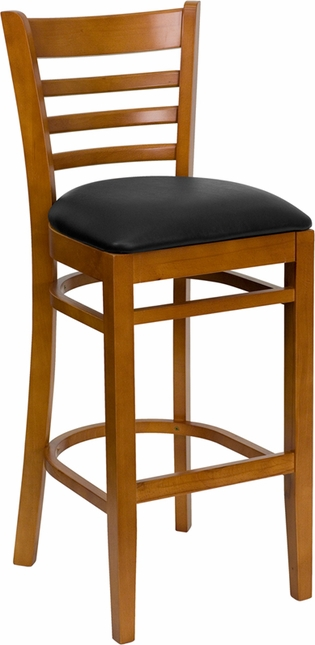 Hercules Cherry Finished Ladder Back Wooden Barstool Black Vinyl Seat