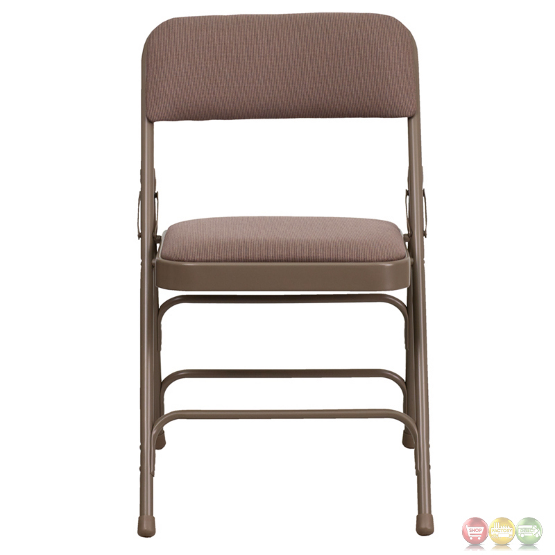Hercules Double Hinged Beige Fabric Upholstered Metal Folding Chair