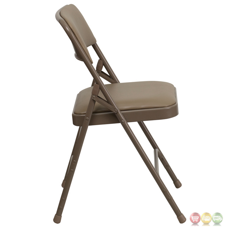 Hercules Double Hinged Beige Vinyl Upholstered Metal Folding Chair