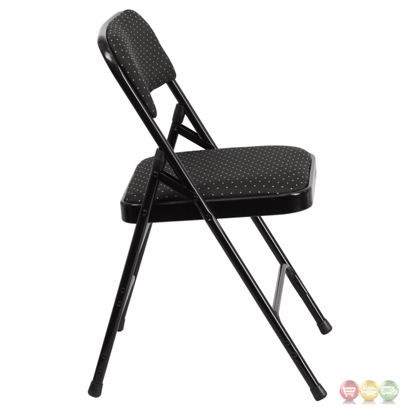 Hercules Double Hinged Black Patterned Fabric Upholstered Metal Folding Chair