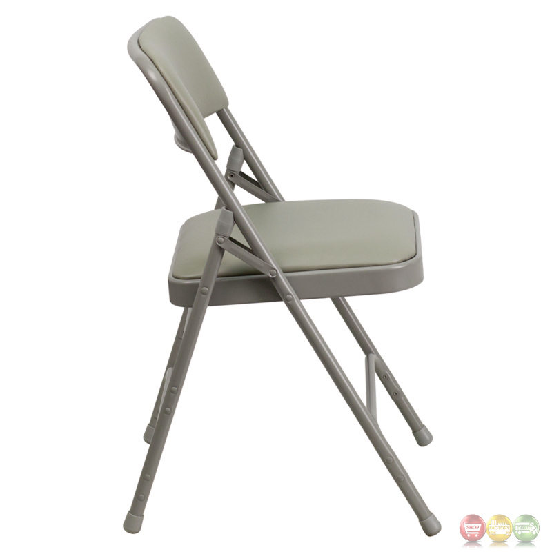 Hercules Double Hinged Gray Vinyl Upholstered Metal Folding Chair