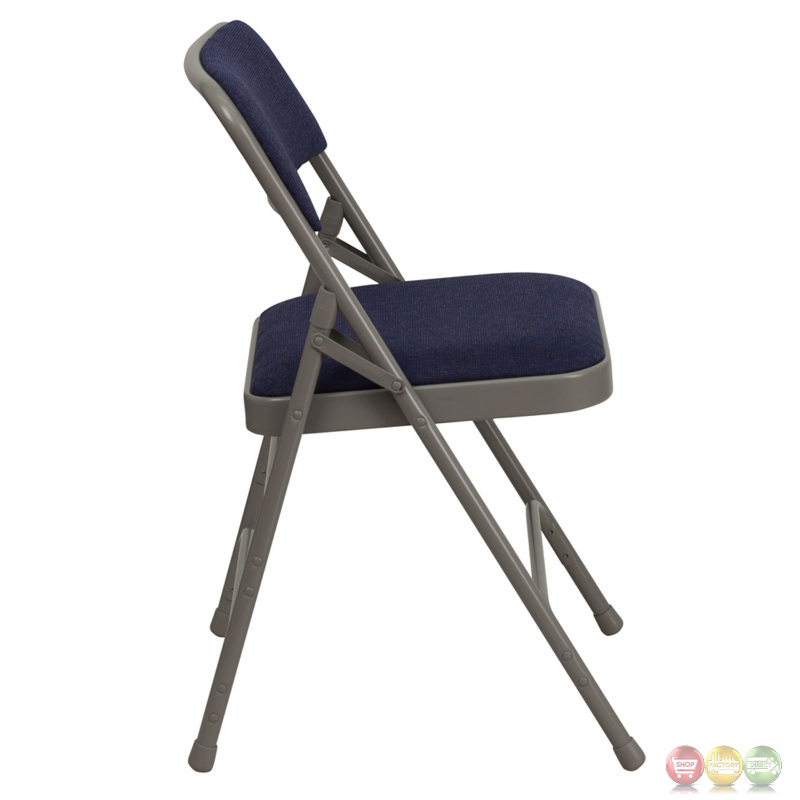 Hercules Double Hinged Navy Fabric Upholstered Metal Folding Chair