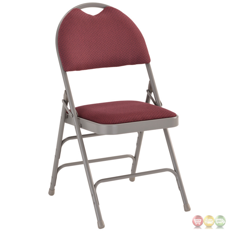 Hercules Extra Burgundy Fabric Metal Folding Chair W Easy Carry Handle