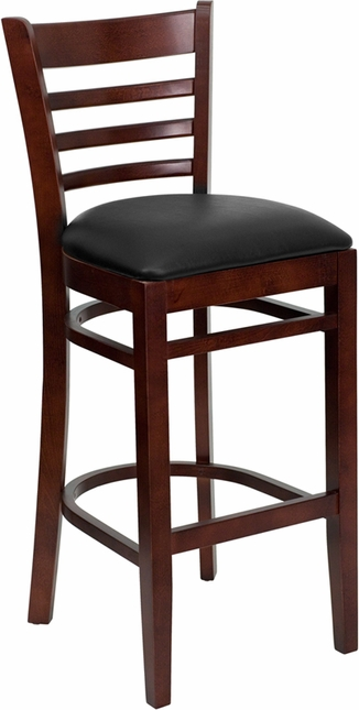 Hercules Mahogany Ladder Back Wooden Restaurant Barstool With Black Vinyl Seat