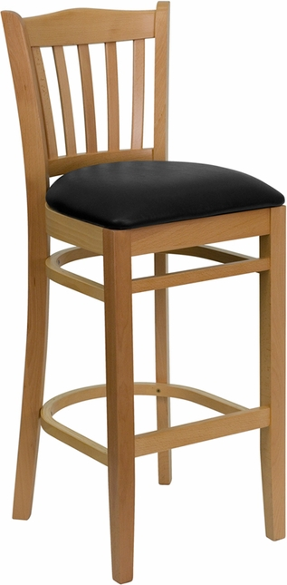 Hercules Natural Slat Back Wooden Restaurant Barstool With With Black Vinyl Seat